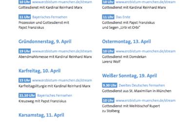 Gottesdienste an den Kar- und Ostertagen in Fernsehen und Internet