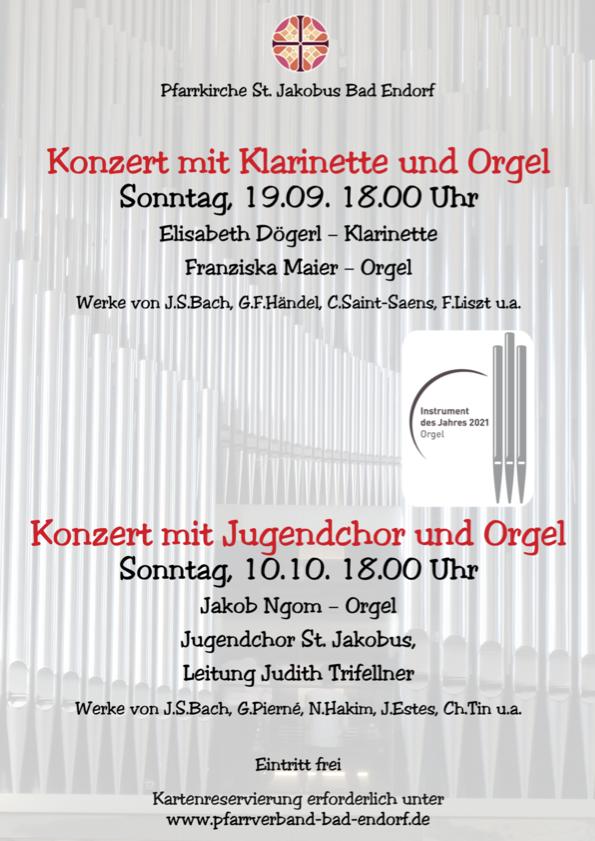 Kirchenkonzerte zum Jahr der Orgel 2021 in der Pfarrkirche St. Jakobus Bad Endorf