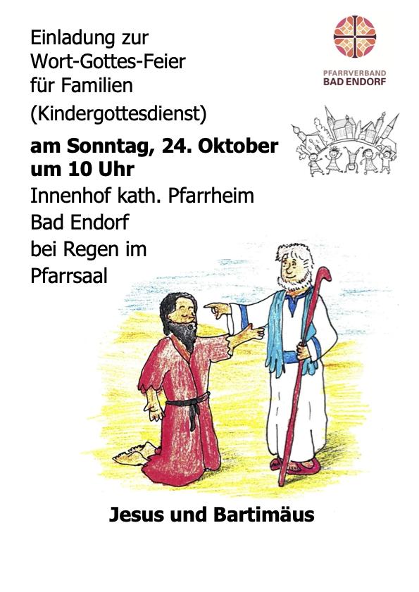EINLADUNG FAMILIEN WORTGOTTESFEIER – Sonntag, den 24.10.2021